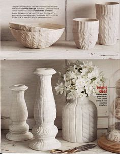 Cable knit ceramic tall cup - Ivory Glazed edge by  Reshape Studio $28