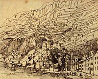 Image: Amalfi Cliffs, drawing by Mendelssohn