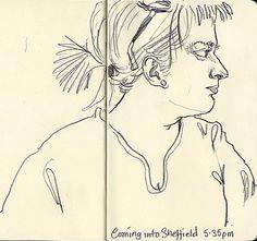 Lynne Chapman - Drawing on the train.  3B pencil