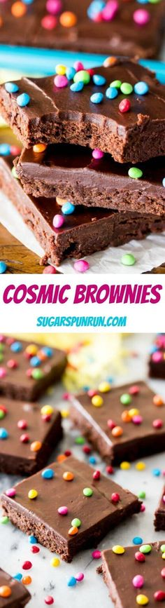 Make your own Cosmic Brownies from scratch! Sugar Spun Run via Candy Recipes, Brownie Recipes, Baking Recipes, Cookie Recipes, Dessert Recipes, Bar Recipes, Baking Ideas, Dessert Ideas, Yummy Recipes