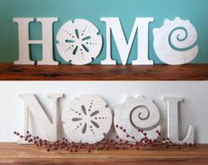 Express the joy of the season and your love of the sea with this coastal version of a Christmas classic. Or leave it on display after the holidays to send out a happy message all year round! I carefully cut the letters out with a scroll saw from half inch plywood, and haphazardly painted them to have a distressed been hanging outside on the porch for the last 40 years look. I sanded them just enough to keep you from getting splinters without diluting the nice, rustic texture of the wood…