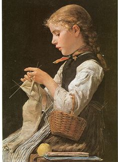 A little girl making socks with that many double-pointed needles. Consider me shamed. Albert Anker