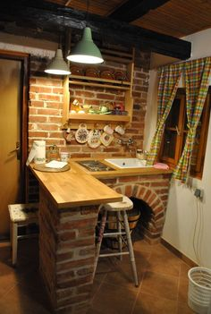Small Brick Kitchen for Traditional, Wooden Croatian House.
