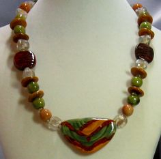 Chunky Necklace made with Green Kazuri Beads from Kenya. Unique and different Can be yours for $150.00 http://www.vpsjewelry.com/african-sunset-and-shimmering-green-kazuri-necklace.html Available at VP's Jewelry Boutique.