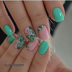 Butterfly nail art Festive nails Fresh nails Green nails ideas June nails 2016 Mint nails Nails with rhinestones Soft- blue nails Butterfly Nail Designs, Butterfly Nail Art, Flower Nail Art, Green Butterfly, Popular Nail Designs, Best Nail Art Designs, Mint Nails, Blue Nails, Mint Green Nails