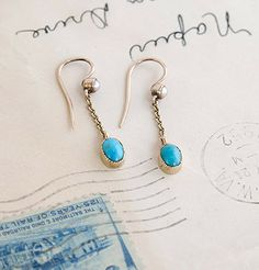 Victorian Pearl and Turquoise Drop Earrings, $500.00