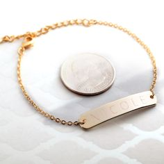 Large Name Round Bar Gold Silver Rose Gold plated/multi occasion Gifts for her Bridesmaid Wedding Mothers day Valentine's Day Personalized Jewelry, Custom Jewelry, Valentines Day Weddings, Valentine's Day, Engraved Bracelet, Round Bar, Wedding Gifts For Bridesmaids, Silver Roses, Bar Necklace