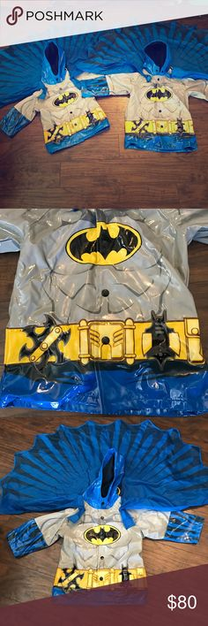 Western chief batman rain coats 2T and 3t, fit 4T Excellent condition!! Sizes are 2T and 3t but these run big. My 3 year old is pictured wearing the 2T. These fit best for 3t and 4T. Smoke free dog friendly home. I'm happy to split, making them $40 each plus shipping. Western Chief Jackets & Coats Raincoats
