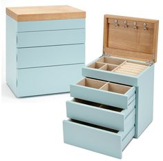 Seya Two-Tone Modern Jewelry Box Organizer with Drawers (Blue)