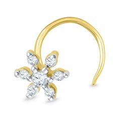 Jpearls 18kt Floral Designed Diamond Nose Pin | Gold and Diamond Nose Pins