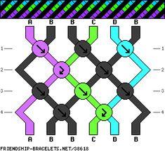 6 Strands, 4 Colors, 3+1+1+1 #38618 - friendship-bracelets.net - Made 10/15 A=lime, B=black, C=orange, D=red