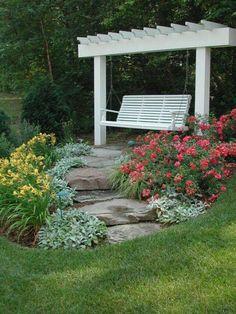 Garden Swing Retreat with pergola for memorial garden Outdoor Projects, Garden Projects, Outdoor Ideas, Amazing Gardens, Beautiful Gardens, Dream Garden, Lawn And Garden, Garden Path, Backyard Landscaping