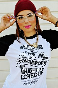 """MORE THAN CONQUERORS Christian T-Shirt -This shirt has scripture Romans 8:37 """"No, in all these things we are more than conquerors through him who loved us."""""""
