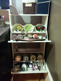 Compact Craft Corner from the IKEA BISSA shoe rack. Stores all my craft stuff.