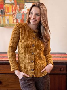Free Knitting Pattern for Barnes Cardigan. Skill Level: Intermediate An unusual stitch texture adds interest to this simple long-sleeved cardigan. Free Pattern More Patterns Like This! Aran Knitting Patterns, Knit Patterns, Free Knitting, Cardigan Pattern, Knit Cardigan, Knitting Supplies, Knit Jacket, Cardigans For Women, Mantel
