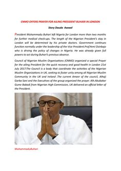 CNMO OFFERS PRAYER FOR BUHARI IN LONDON