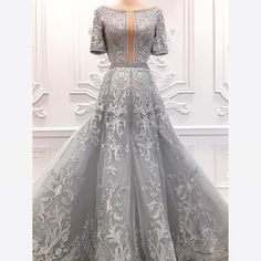 Here is a closer look of LIZA SOBERANO dove gray couture gown with full threadwork embroideries which made her win the Best Dressed of the Night in Star Magic Ball. Liza Soberano Gown, Ball Dresses, Bridal Dresses, Elegant Dresses, Nice Dresses, Couture Dresses, Fashion Dresses, Debut Gowns, Grey Gown