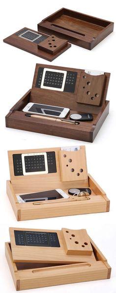 Wooden Perpetual Calendar Pen Pencils Holder Business Card Stand Holder Desk Organizer idear