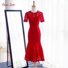 2b0c70fdec2 TaooZor Elegant Short Mother of the Bride Dresses 2018 Lace Dress for Wedding  Guest Knee Length Bodycon Red Evening Dress.