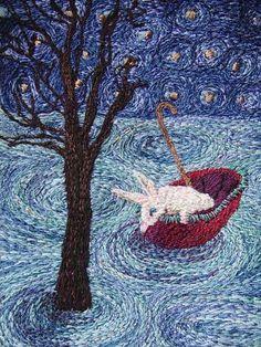 karen richards - narrative (adrift) Embroidery Motifs, Embroidery Needles, Needlepoint Stitches, Needlework, Cat Crafts, Sewing Crafts, Karen Richards, Westerns, Textile Fiber Art
