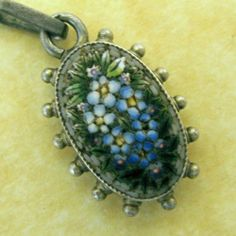 Antique European 800 Silver Micromosaic Forget Me not Flowers Charm Pendant | eBay