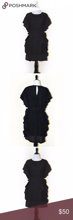 NWT Anthropologie Moonriver Black Poncho Dress In a tribal-inspired, this black poncho features fringed trim.  Belted Bohemian Black Mini Dress 100% Polyester Size Small Hand Wash Cold Anthropologie Dresses Mini
