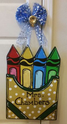 Colorful crayon box to be displayed on the front of their classroom door. This is a great teacher gift! This handmade teacher inspired wooden door hanger c Wooden Door Hangers, Wooden Doors, Color Crayons, Crayon Box, Great Teacher Gifts, Painted Doors, Paint Party, Door Signs, Making Ideas