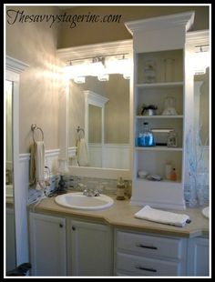 How To Frame a Basic Builder Grade Mirror and Update a Bathroom