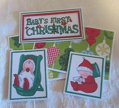 """Baby's 1st Christmas"" 5 PC Mat and Block Set Perfect for Single Page or Cards 