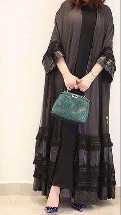 Elegant Robes Women Long Sleeve Maxi Dress Muslim Lace Applique Cute Al-jilbib Spring Autumn Abaya in 2020 Dubai Fashion, Abaya Fashion, Fashion 2020, Fashion Trends, Abaya Mode, Hijab Style Dress, Abaya Style, Modern Abaya, Moslem Fashion