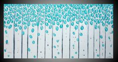 Turquoise Wall art deco Birch tree painting by acrylkreativ, $339.00