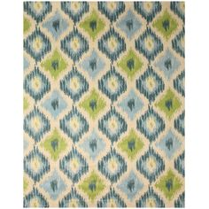 EORC Hand-tufted Wool Ivory Contemporary Abstract Seagrass Ikat Rug