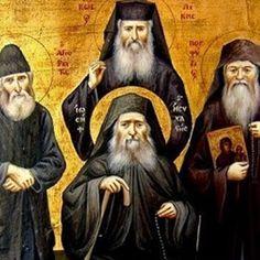 An icon of modern Greek elders. Christian World, Christian Faith, Holy Saturday, Religion, Christ Is Risen, Byzantine Icons, Orthodox Christianity, Catholic Saints, Orthodox Icons