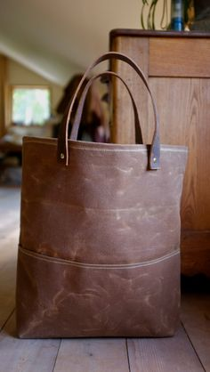Waxed Canvas Tote - Leather Straps - Weather Resistant - Grocery Tote - Organic Striped Cotton. Lissa Snapp