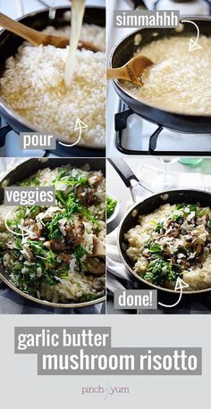 Garlic Butter Mushroom Risotto - do it for the white wine, garlic, butter, and Parm. SERIOUSLY nummy. 370 calories. | pinchofyum.com #vegetarian #recipe #mushroom #risotto