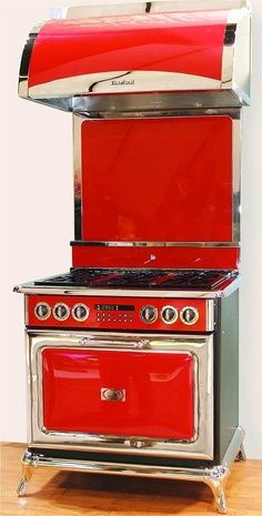 Red Retro Range...beautiful! Love the design...the added chrome...and the built-in vent hood.