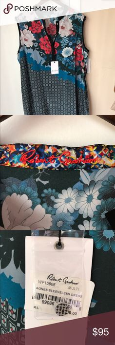 NWT Robert Graham Women's Black Blue Floral Dress NWT but missing black belt. This can easily be replaced with another belt or worn without a belt.  -100% silk, dry clean only -Multi-color floral print  SMOKE FREE HOME! Robert Graham Dresses