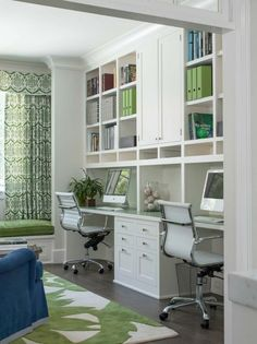 built in white cabinet open functional bookshelves modern task chair green wool rug of Working Productively in Contemporary Closet Office Space