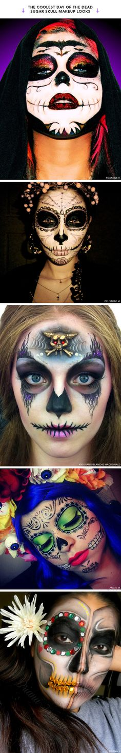 The coolest day of the dead sugar skull makeup looks.