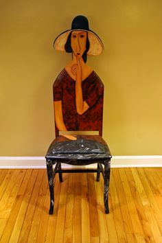 Modigliani Jeanne Hebuterne in a Hat upscaled chair painted by Artist Todd Fendos