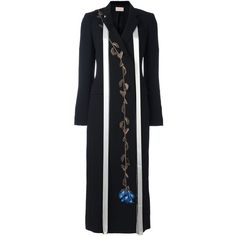 Christopher Kane embroidered rose coat (3,935 CAD) ❤ liked on Polyvore featuring outerwear, coats, black, long sleeve coat, print coat, double breasted long coat, patterned coat and rose coat