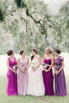 mismatched bridesmaid dresses | Gorgeous orchid x purple mismatched bridesmaid gowns » Praise Wedding ...
