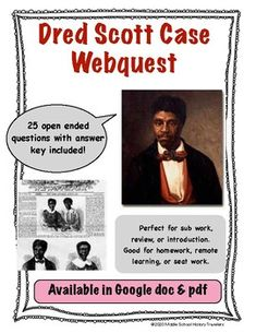 Dred Scott Case Webquest (Dred Scott v Sanford) Supreme Court Cases, Middle School History, Teaching History, Us History, Teacher Newsletter, Students, This Or That Questions, Education, Learning