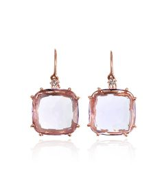 DESIGNER: SUZANNE KALAN SEE DETAILS HERE:Rose Gold and Rose De France Cushion Cut Earrings