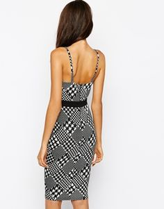 Enlarge AX Paris Cami Bodycon Dress in DogsTooth