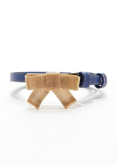 WCM Luscious Skinny Belt with Gold-Tone Mesh Bow on ideeli fro $39.99