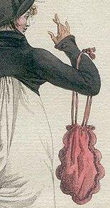""".História da Moda.: O Século XVIII e XIX : Diretório, Império e Regência Diretório  Por conta do tecido dos vestidos serem finos, impossibilitou-se a presença dos bolsos, surgem então, as primeiras bolsas, chamadas de """"retícula"""" (imagem à direita). Os penteados eram simples, repartidos ao meio, presos e com pequenos cachos. Era considerado elegante enfeitá-los com plumas de avestruz"""