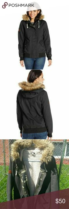 ROXY NAVY BOMBER JACKET Faux fur lined, removable hood. Zipper and button closure Roxy Jackets & Coats Utility Jackets