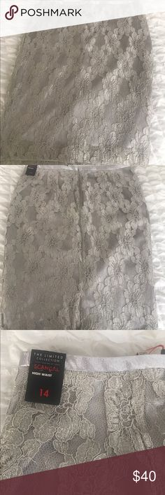 Brand New Lace Skirt - SCANDAL Collection New with Tags,  floral print lace skirt in a pretty silver color. From the Limited! High Waist and falls just below the knee The Limited Skirts Midi