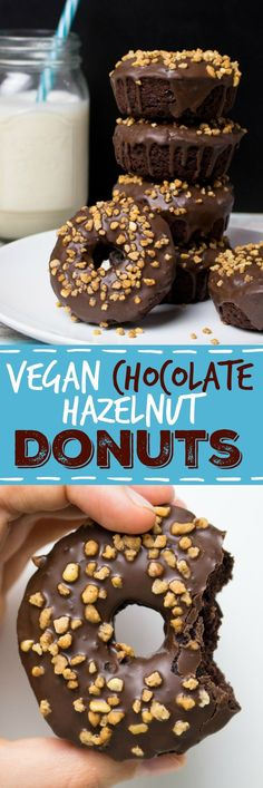 Vegan Chocolate Hazelnut Donuts - Vegan Heaven Vegan Chocolate Hazelnut Donuts with help from your high power blender! We can't wait to try this chocolate goodness! Healthy Vegan Dessert, Coconut Dessert, Vegan Dessert Recipes, Donut Recipes, Vegan Treats, Healthy Sweets, Vegan Foods, Vegan Dishes, Baking Recipes